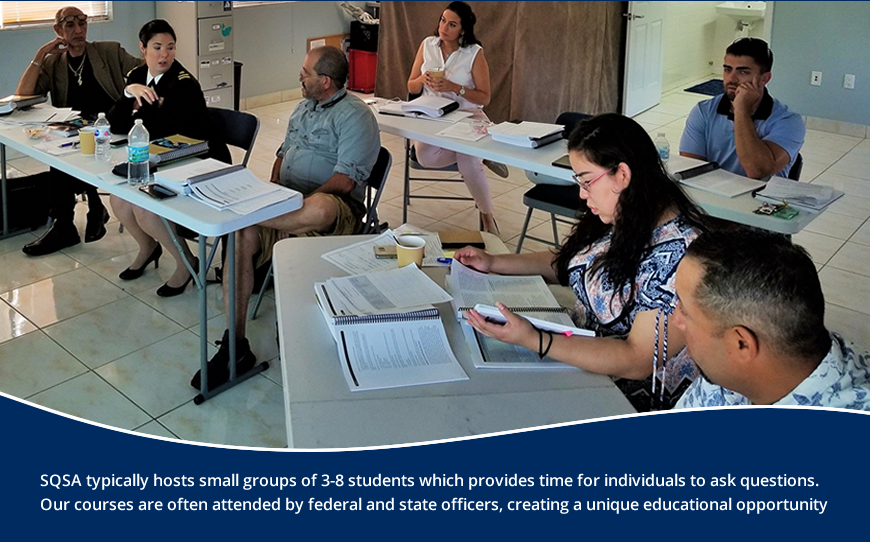 SQSA - Training typically hosts small groups of 3-8 students which provide time for individuals to ask questions.